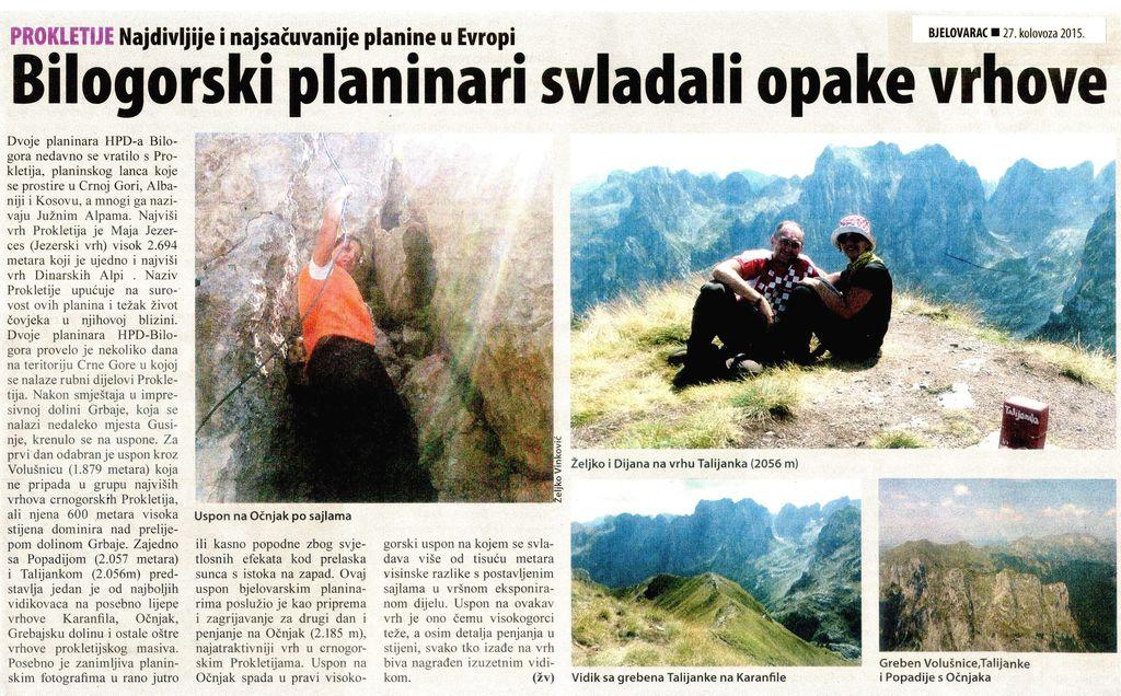Članak u Bjelovarcu