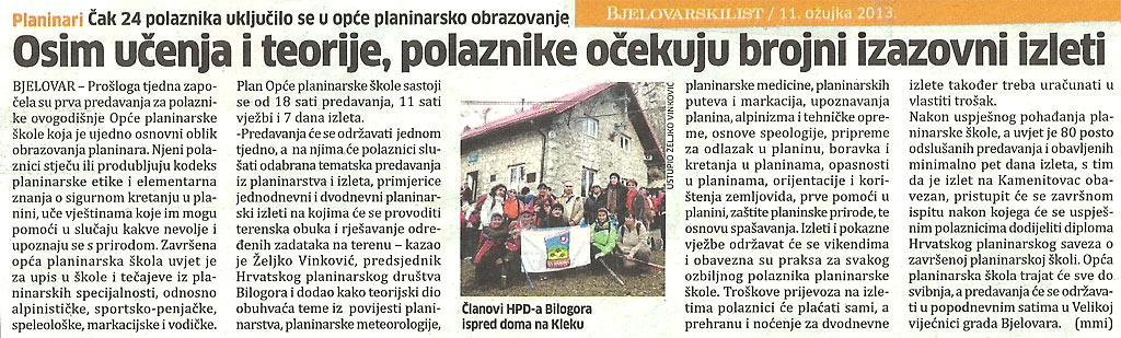planinarska škola 2013